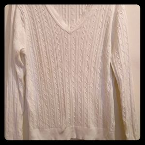White Tommy Hilfiger V neck Cable Knit Sweater.